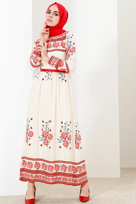 Refka Ekru Doğal Kumaşlı Çiçek Desenli Elbise