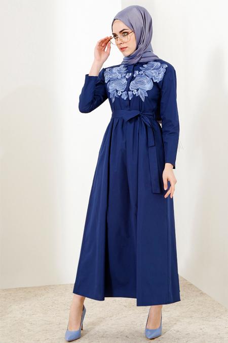 Refka Lacivert Nakışlı Elbise