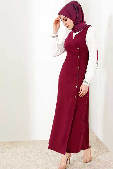 Refka Mürdüm Çıtçıtlı Jile Elbise