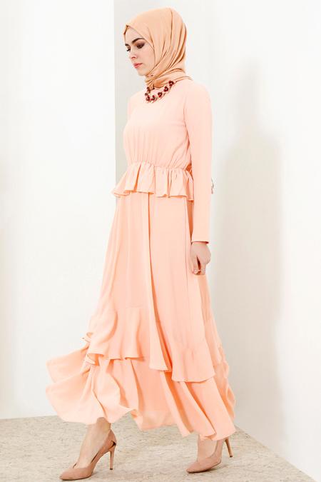 Refka Pudra Beli Lastikli Elbise