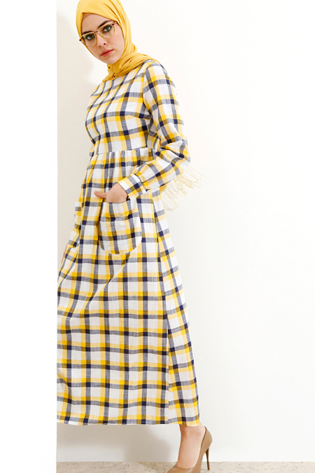 Refka Sarı Cep Detaylı Elbise