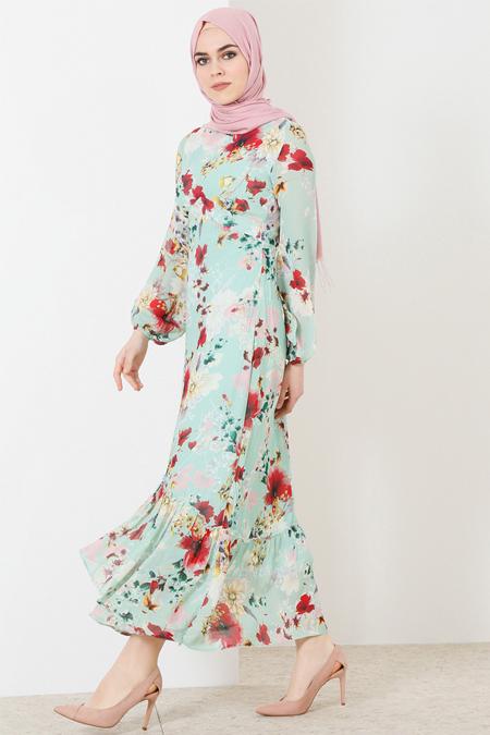 Refka Su Yeşili Çiçek Desenli Elbise