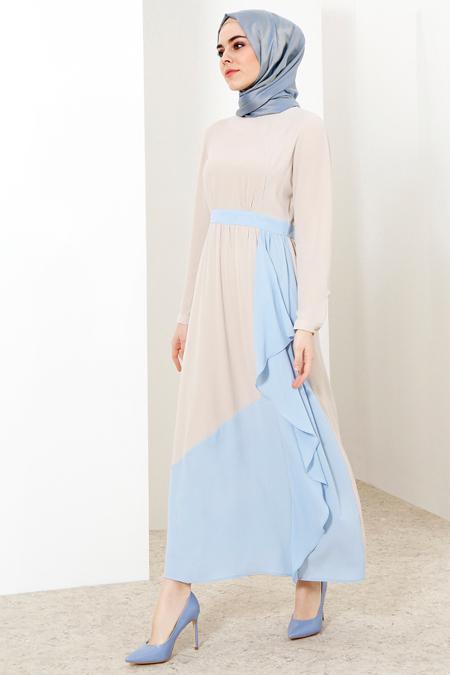 Refka Taş Bebe Mavi Garnili Elbise