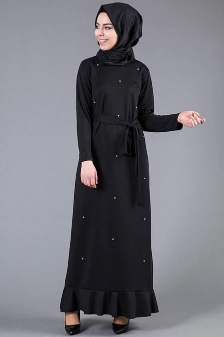 İnşirah Siyah İnci Detaylı Elbise