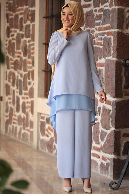 Amine Hüma Bebe Mavi Zenne Tunik&Pantolon İkili Takım