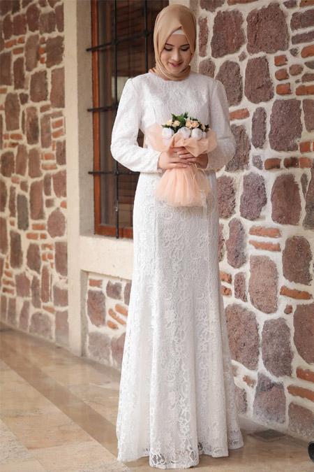 Amine Hüma Ekru Mia Balık Abiye Elbise