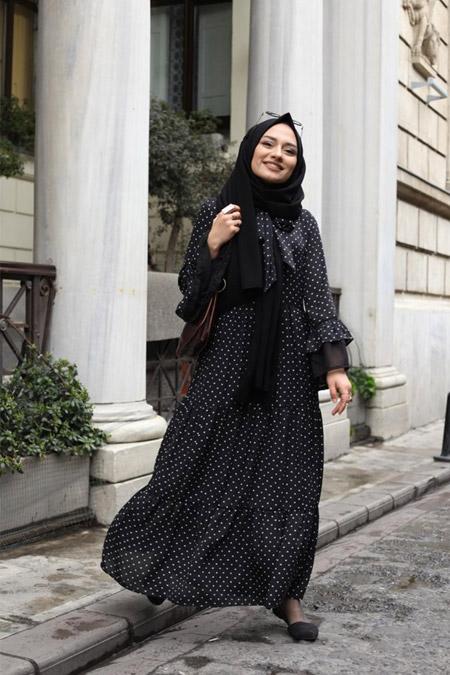 Atölye 21 Siyah Puantiyeli Elbise