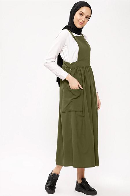 Beha Tesettür Haki Salopet Elbise