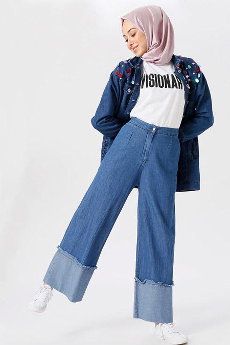 Benin Açık Mavi Bol Paça Kot Pantolon