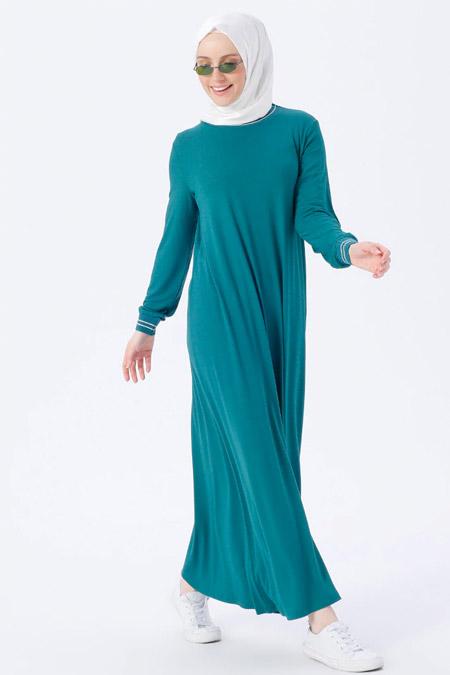 Benin Koyu Yeşil Doğal Kumaşlı Elbise