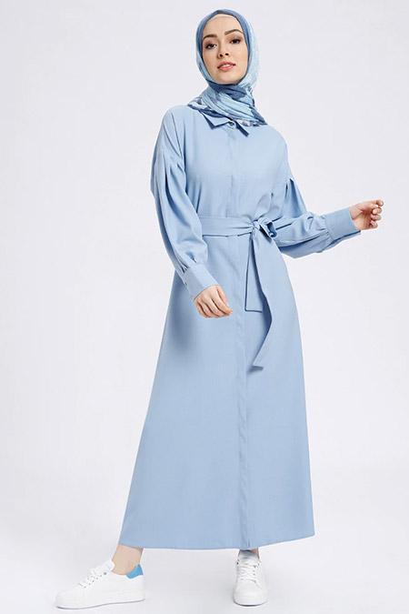Benin Mavi Boydan Gizli Düğmeli Elbise