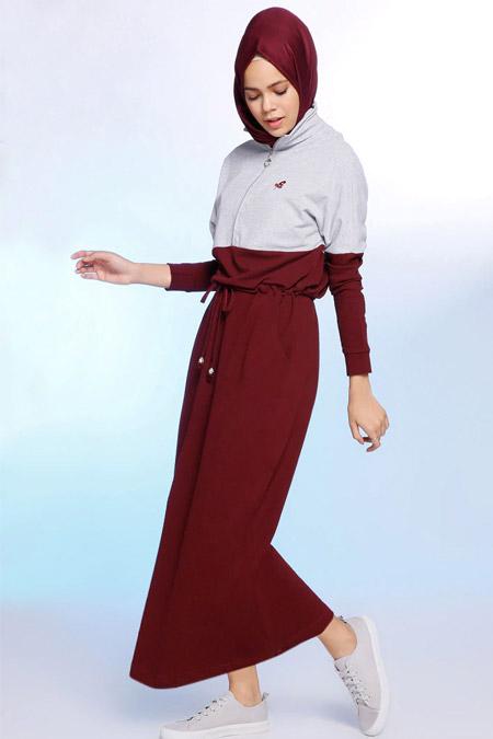 Benin Mürdüm Doğal Kumaşlı Garnili Elbise