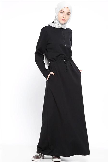 Bwest Siyah Fermuar Detaylı Elbise