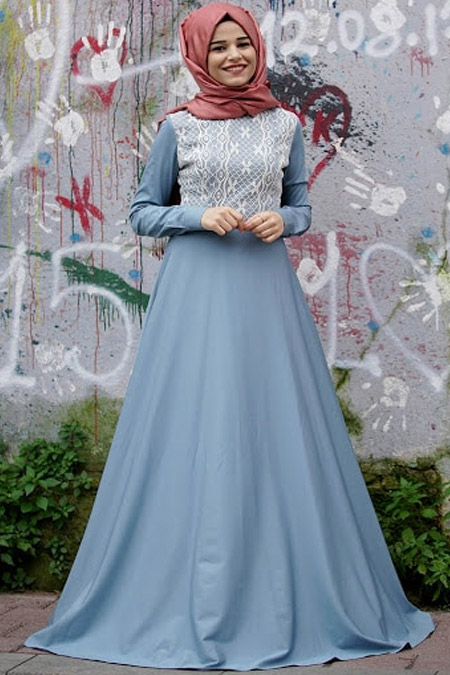 Cool Vera Mavi Kot Elbise