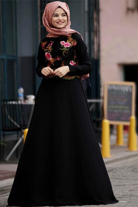 Cool Vera Siyah Rose Abiye Elbise