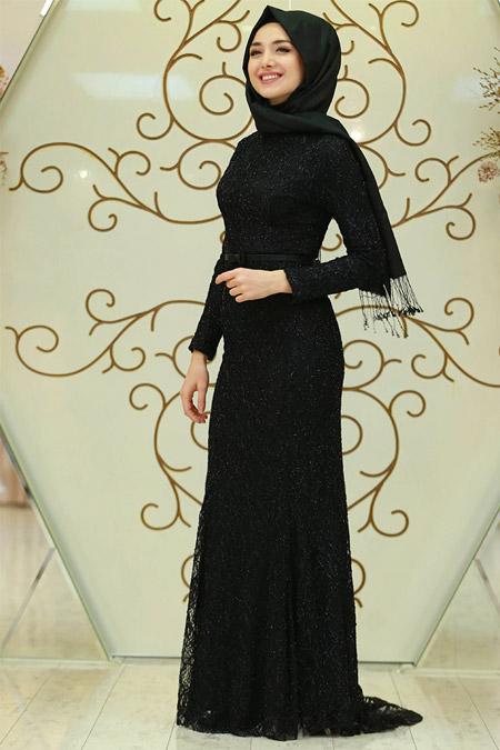 Gamze Özkul Siyah Fulya Dantel Elbise