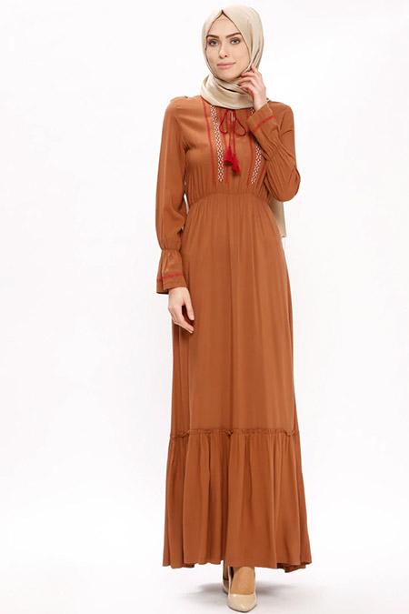 Ginezza Taba Nakış Detaylı Elbise