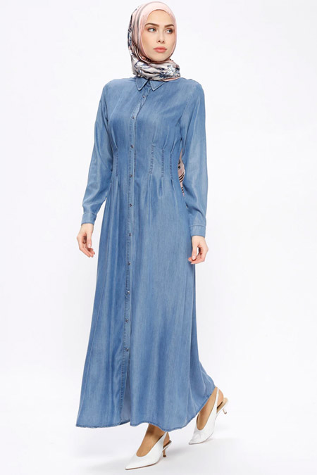 Hanımsa Açık Mavi Çıtçıtlı Tensel Kot Elbise
