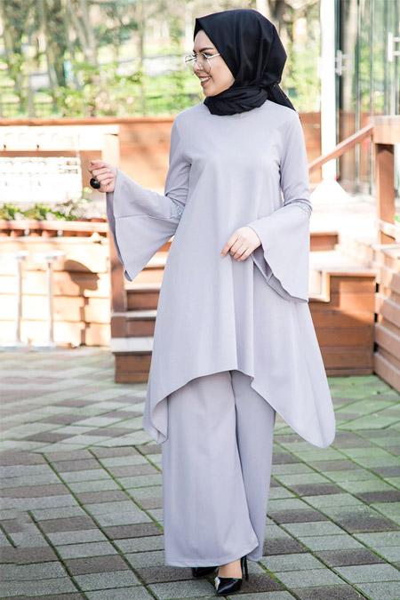 İnşirah Gri Tunik&Pantolon İkili Takım