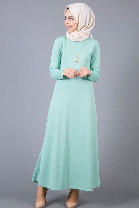 İnşirah Mint Kolyeli Elbise