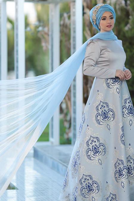 Lef`zen Gri Mavi Thalia Abiye Elbise