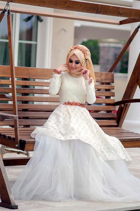 Minel Aşk Ekru Ayperi Abiye Elbise