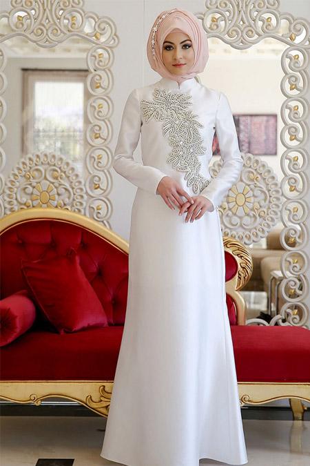 Minel Aşk Ekru Bihter Abiye Elbise