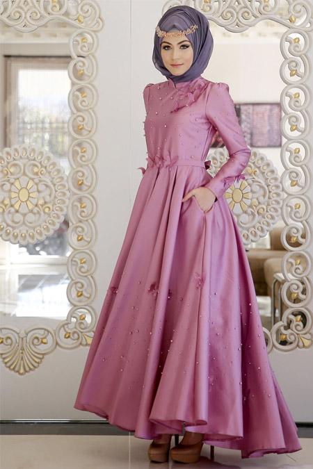 Minel Aşk Pudra Monalisa Abiye Elbise