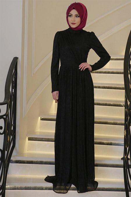 Minel Aşk Siyah Lavin Abiye Elbise