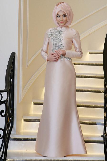 Minel Aşk Somon Bihter Abiye Elbise
