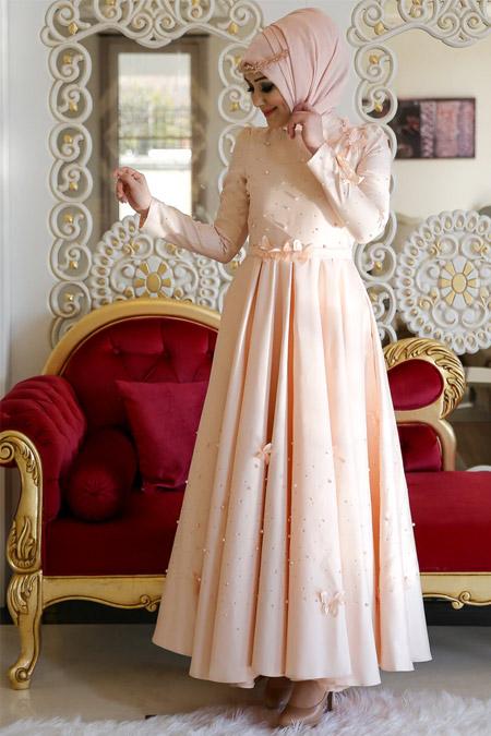 Minel Aşk Somon Monalisa Abiye Elbise