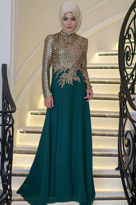 Minel Aşk Yeşil Gold Yaprak Elbise