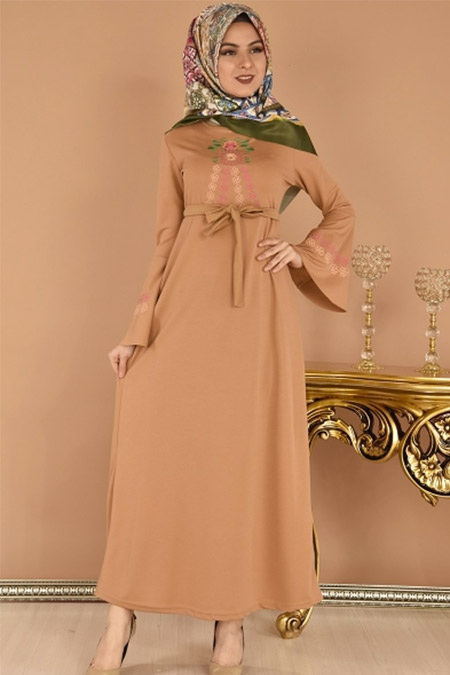 ModaMerve Açık Hardal Valon Kol Nakışlı Elbise
