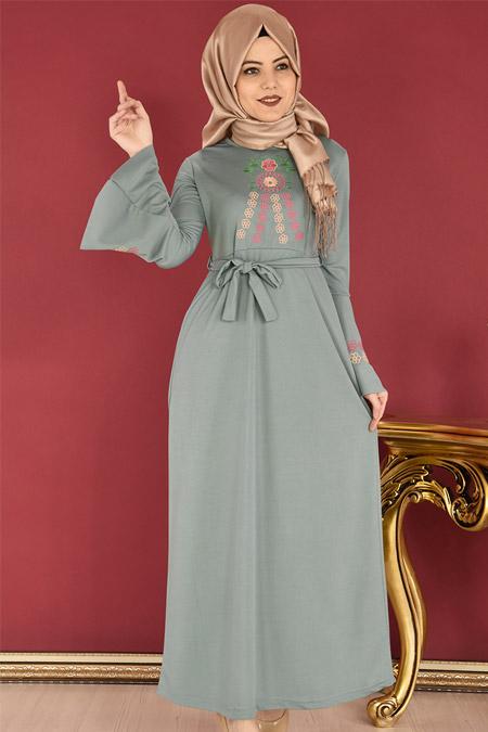 ModaMerve Mint Valon Kol Nakışlı Elbise