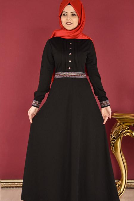 ModaMerve Siyah Bel ve Kol Nakışlı Elbise