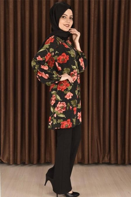 ModaMerve Siyah Kolyeli Çiçek Desenli Tunik