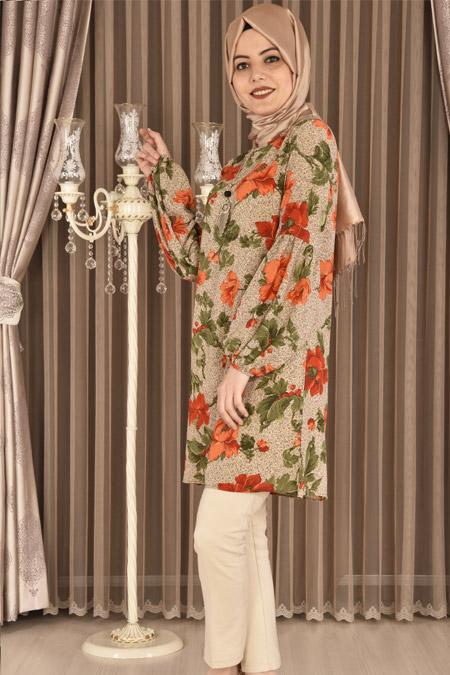ModaMerve Vizon Kolyeli Çiçek Desenli Tunik