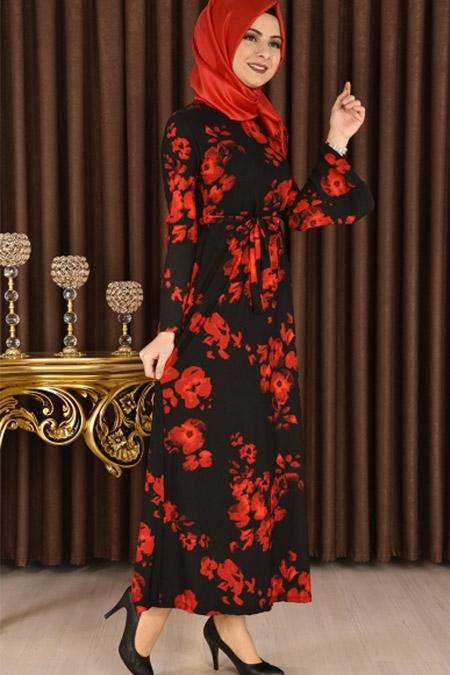 Modamerve Siyah Gül Desen Valon Kol Elbise