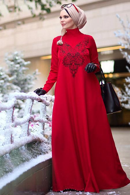 Muslima Wear Kırmızı Diadema Crystal Elbise