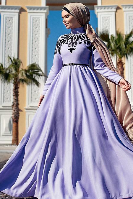 Muslima Wear Lila Jasmine Abiye Elbise