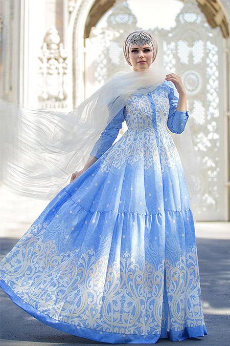 Muslima Wear Mavi Fiore Elbise