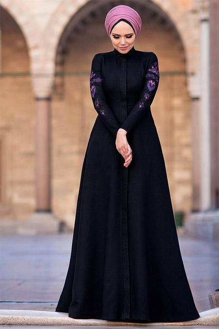 Muslima Wear Siyah Mehendi Elbise