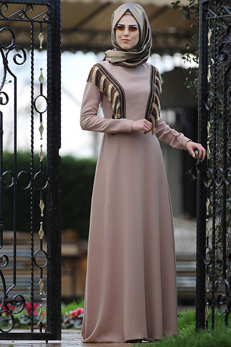 Nurkombin Bej Zerafet Elbise
