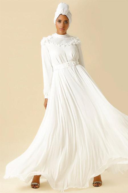 Raşit Bağzıbağlı Beyaz Taş İşlemeli Çiçek Aplikeli Abiye Elbise