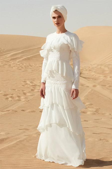 Raşit Bağzıbağlı Beyaz Volanlı Dantel Detaylı Abiye Elbise