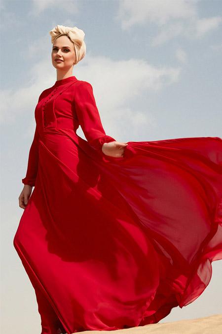 Raşit Bağzıbağlı Kırmızı Brit Detaylı Abiye Elbise