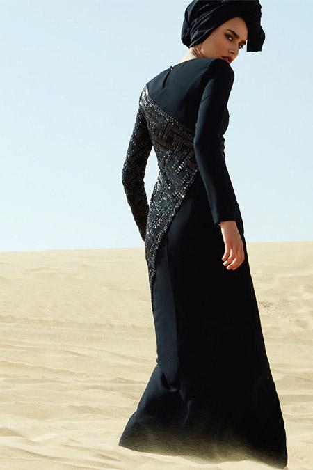 Raşit Bağzıbağlı Siyah Payet İşleme Detaylı Abiye Elbise