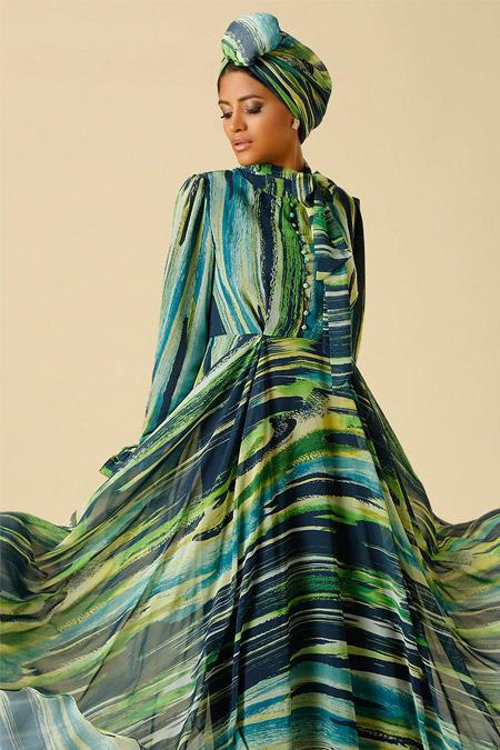 Raşit Bağzıbağlı Yeşil Desenli Brit Detaylı Abiye Elbise