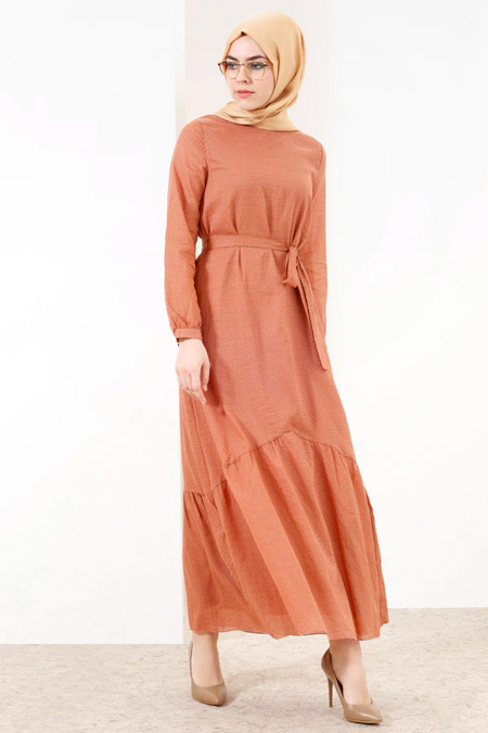 Refka Kiremit Doğal Kumaşlı Puantiyeli Elbise