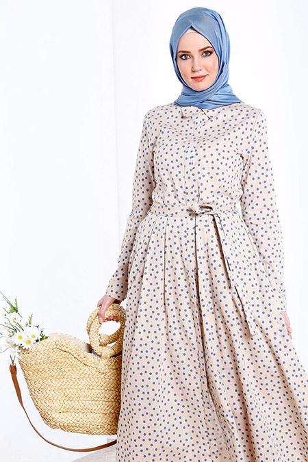 Refka Mavi Doğal Kumaşlı Boydan Düğmeli Elbise